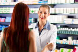 Pharmacist and client talking